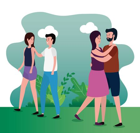 cute lovers couples on the park characters vector illustration design Illusztráció