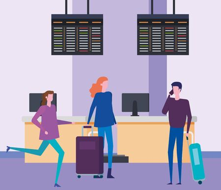 women and man with baggage and screens trip to travel service, vector illustration Ilustração