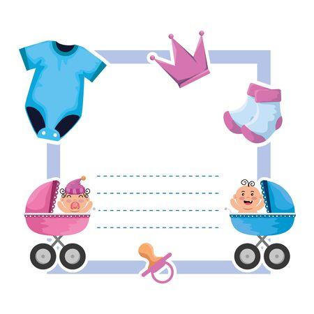 Tarjeta de baby shower con ropa y carritos, diseño de ilustraciones vectoriales