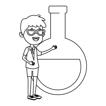 happy student boy with tube test flask vector illustration design