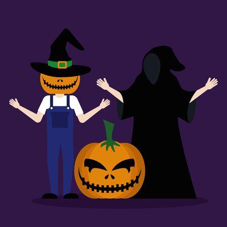 halloween young men disguised with pumpkin vector illustration design 일러스트