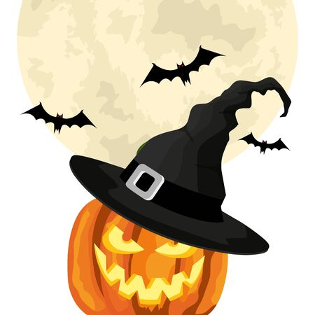 halloween pumpkin with hat witch and bats flying vector illustration design Illusztráció