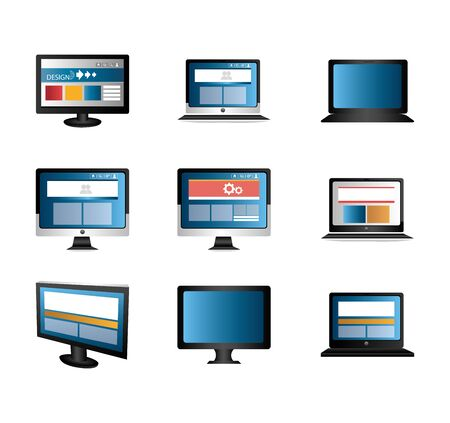 Paquete con computadoras y portátiles, diseño de ilustraciones vectoriales