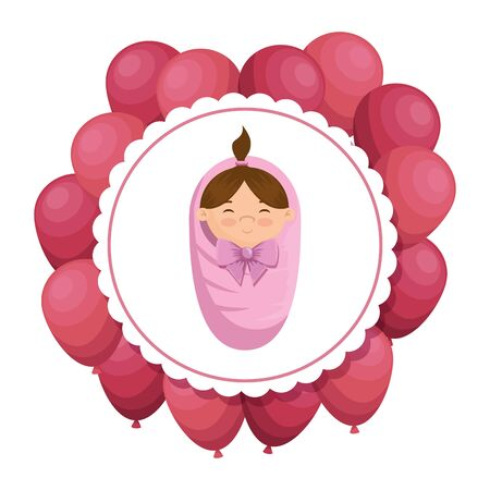 cute little girl baby in lace with balloons helium vector illustration design
