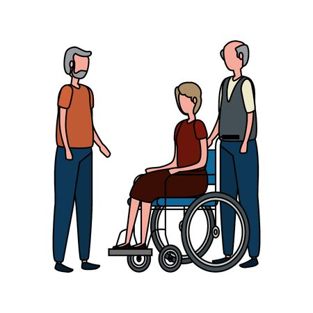 cute grandparents couple in wheelchair vector illustration design