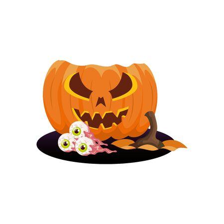 halloween broken pumpkin with eyes scary vector illustration design