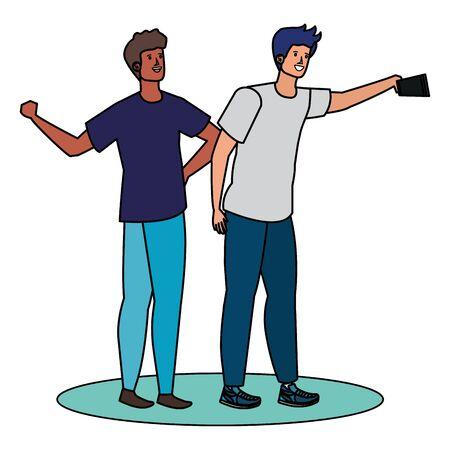 interracial young men friends taking a selfie vector illustration design