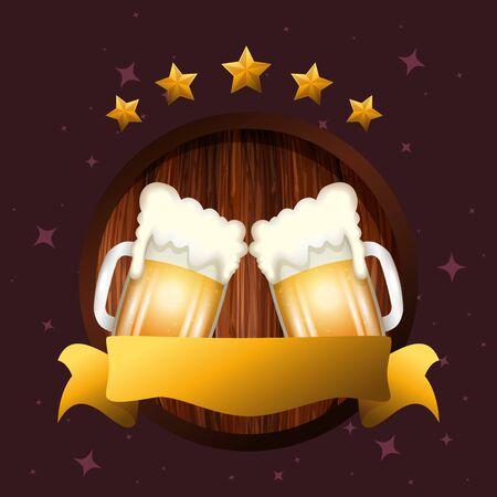 Oktoberfest beer design, Germany festival celebration europe landmark munich culture and party theme Vector illustration Иллюстрация