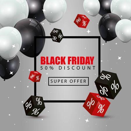 Cartel de viernes negro y cincuenta de descuento con globos de helio, diseño de ilustraciones vectoriales de decoración