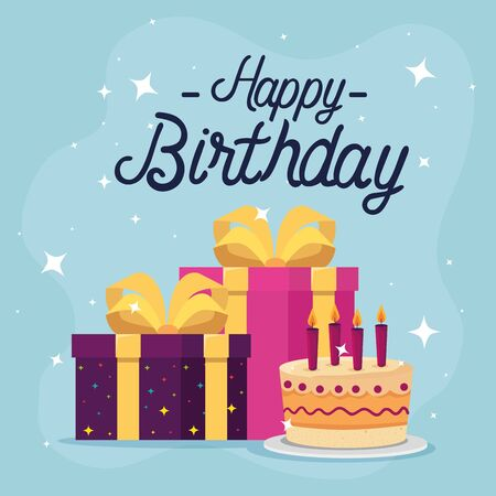 cake and gifts design, happy birthday celebration decoration party festive and surprise theme Vector illustration