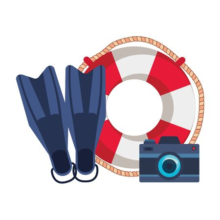 marine float with camera photographic and diving fins vector illustration design