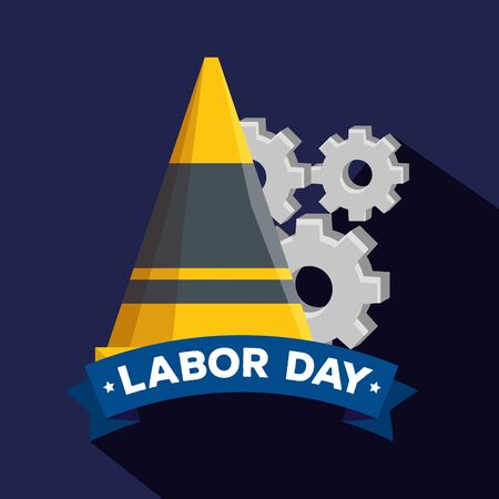 cone with gears and cone with ribbon decoration to labor day, vector illustration