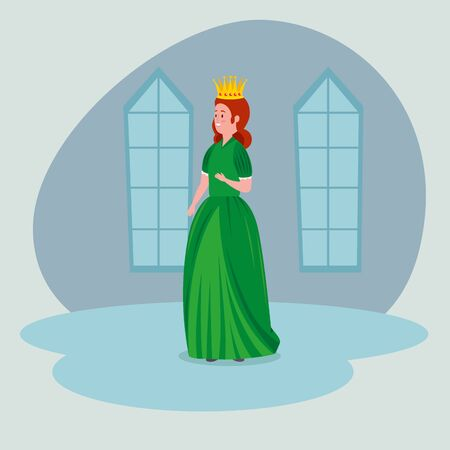 woman queen with crown and dress in the castle to tale character, vector illustration