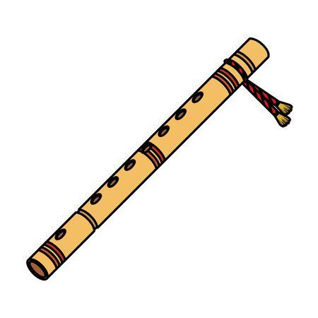 Flûte de bambou instrument de musique indien vector illustration design