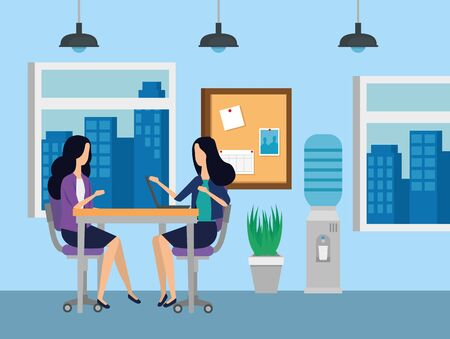 businesswomen sitting in the chairs with desk and noteboard to business office, vector illustration