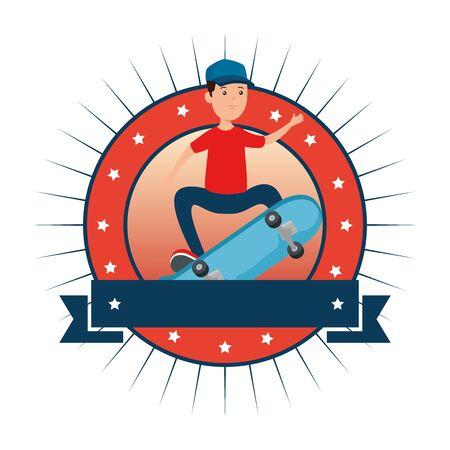 circular frame with young boy in skateboard vector illustration design