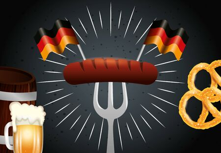 Oktoberfest sausage design, Germany festival celebration europe landmark munich culture and party theme Vector illustration