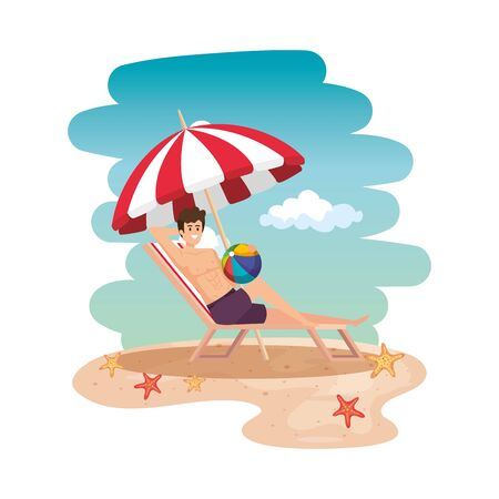 young man relaxing in beach chair with balloon toy on the beach vector illustration