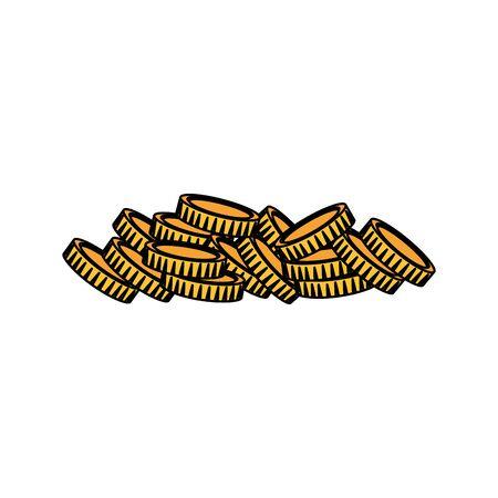 golden coins charity religious icon vector illustration design