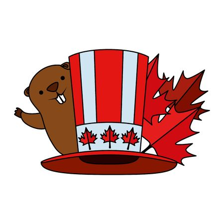 canadian tophat with leaf maple and beaver vector illustration design