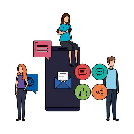young people with smartphone and social media menu vector illustration design