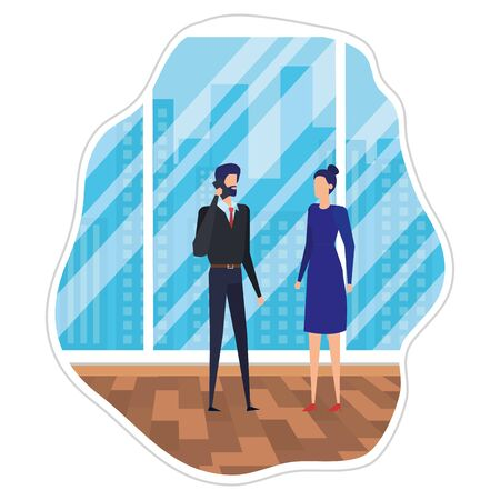 business couple using smartphone in the office vector illustration design