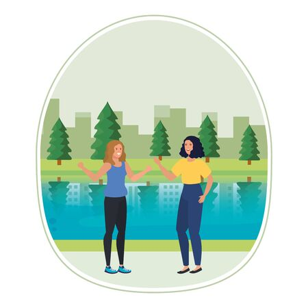 young girls friends in the landscape vector illustration design