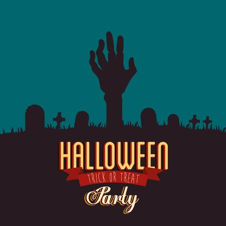 poster of party halloween with hand zombie in cemetery vector illustration design