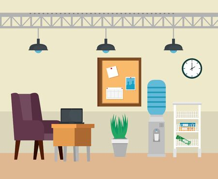 laptop in the desk with chair and noteboard with plant to business office, vector illusration Illustration