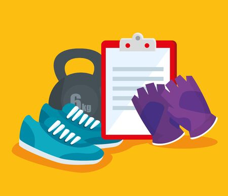 shoes with dumbbell and check list with gloves over yellow background, vector illustration