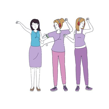 young girls listen music with earphones and player vector illustration design