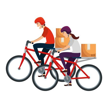 delivery workers in bicycles transport with boxes vector illustration design