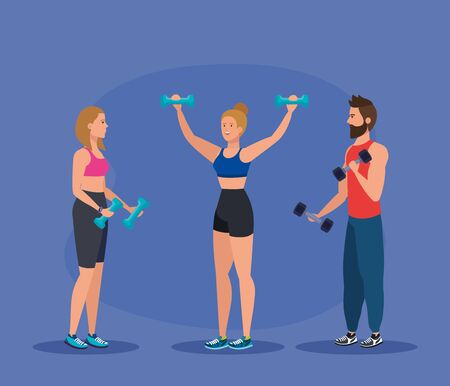 fitness women and man with dumbbells to exercise activity over purple background, vector illustration