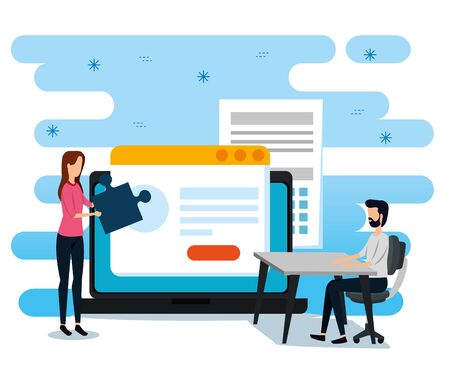 businesswoman and businessmen with website document and laptop to office strategy, vector illustration