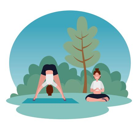women practice yoga exercise position with tree and bushes plants, vector illustration Ilustracja