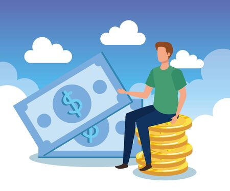 businessman with coins and bills cash money with clouds, vector illustration