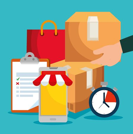 man hand with box and check list with chronometer to delivery service vector illustration Illustration