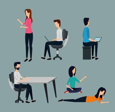 set of businessmen and businesswoman teamwork strategy over gray background, vector illustration Ilustração