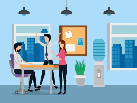 businessmen and businesswoman teamwork with noteboard and desk to business office, vector illustration
