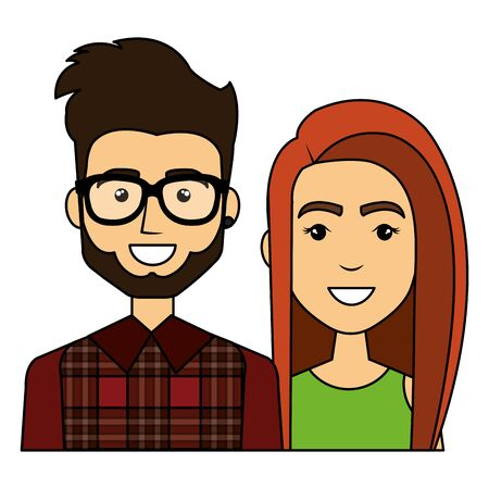 young couple urban style characters vector illustration design Stock Illustratie