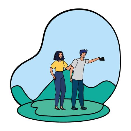 young lovers couple taking a selfie in the camp vector illustration design