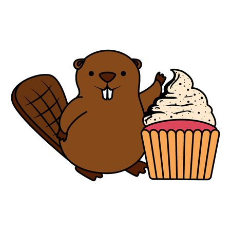 cute beaver mascot with sweet cupcake vector illustration design