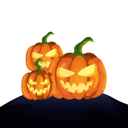 halloween pumpkins traditional isolated icon vector illustration design