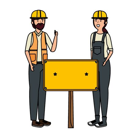young couple mechanics workers with label vector illustration design Ilustracja