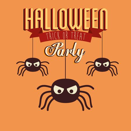 poster of party halloween with spiders insects vector illustration design