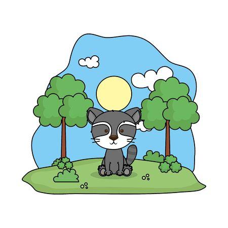 cute raccoon in the landscape vector illustration design