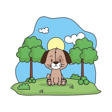 cute dog in the landscape vector illustration design