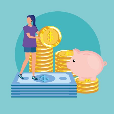 young woman with bills dollars character vector illustration design