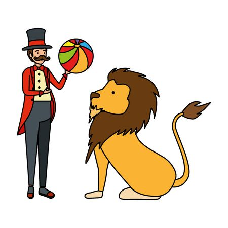 circus magician with balloon and lion vector illustration design