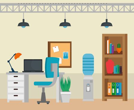 laptop and lamp in the desk with chair and books in the business office, vector illustration 向量圖像